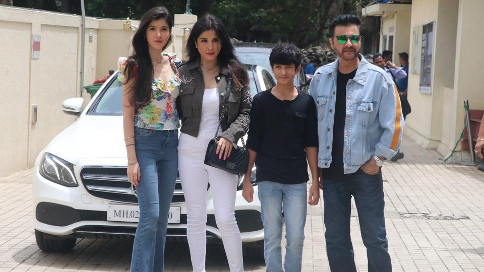 Sanjay Kapoor, with his wife and children, arrives at the Dhadak trailer launch in Mumbai. (Viral Bhayani)