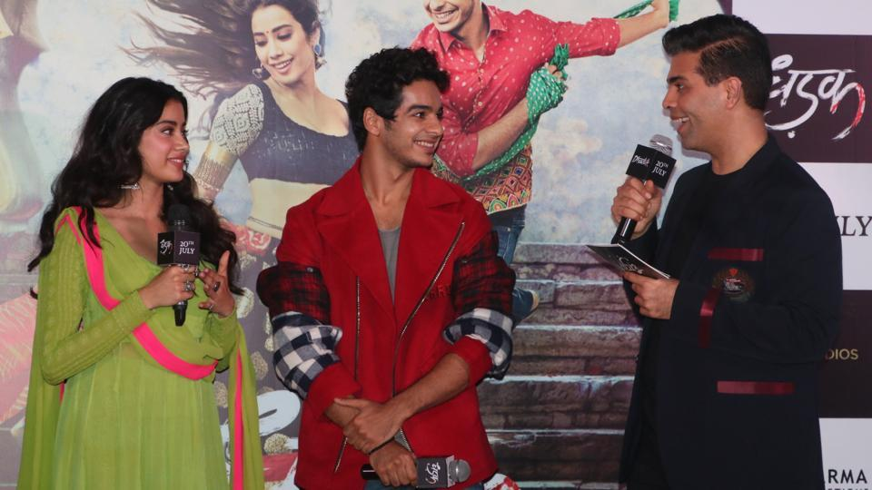 Karan Johar interacts with Janhvi Kapoor and Ishaan Khatter at the event. (Viral Bhayani)