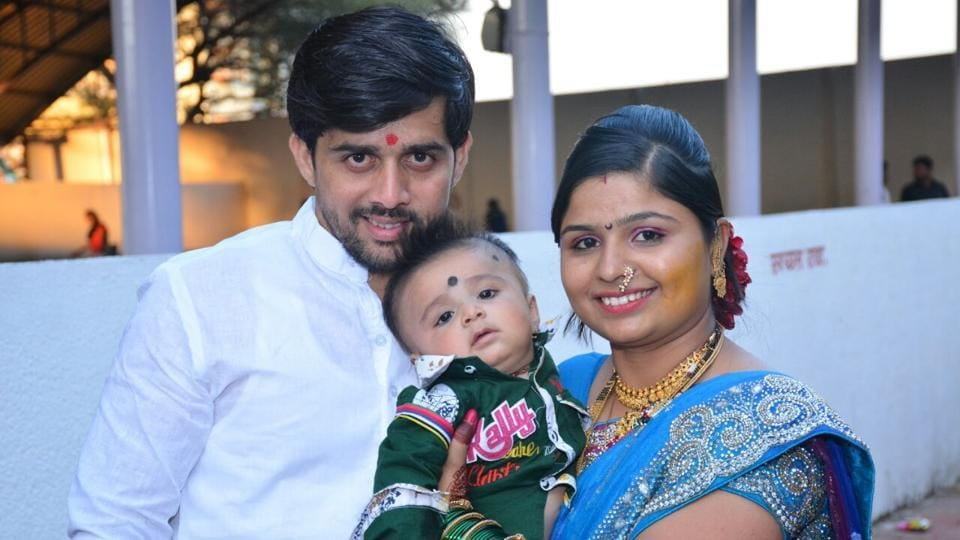 Murder-accused in the Hinjewadi double murder, Datta Bhondhve (left), with his wife and child before the incident.