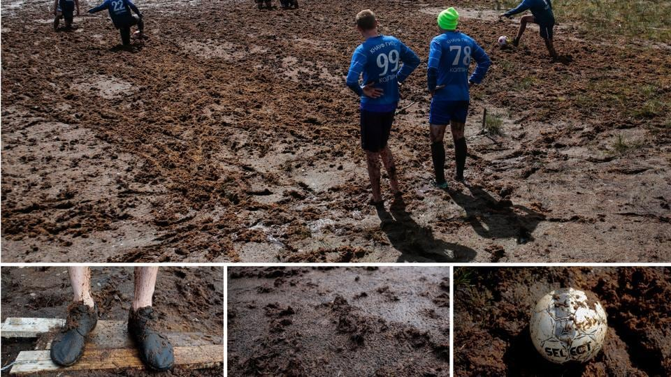 While the games during the tournament in Russia will have players sweating it out on trimmed grass pitches, football owes its popularity to the fact that it can be played anywhere and everywhere. This muddy pitch outside the village of Pogi in Leningrad region, at times risky holds no sway in coming between the men and their sport. (Anton Vaganov / REUTERS)