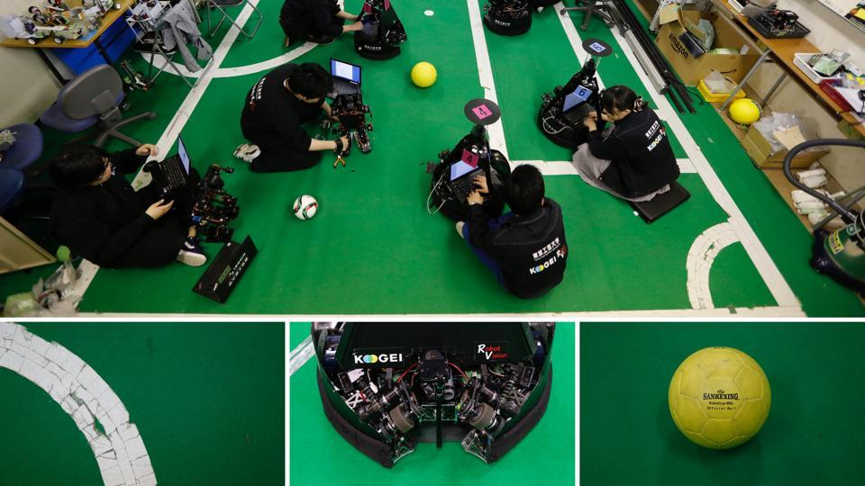 Trust Japan to throw robots in the mix! A combination image shows students checking soccer robots (top), and details of a pitch, a ball-handling device, and a ball at the Robot Vision Laboratory of the Tokyo Polytechnic University in Atsugi, Japan. (Toru Hanai / REUTERS)