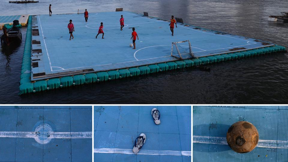 That there's no land to play on, makes little difference to these kids. A combination picture shows children playing football on a floating pitch (top), detail of their pitch, flip-flops and a football in the fishing village of Ko Panyi in Thailand.  (Soe Zeya Tun / REUTERS)