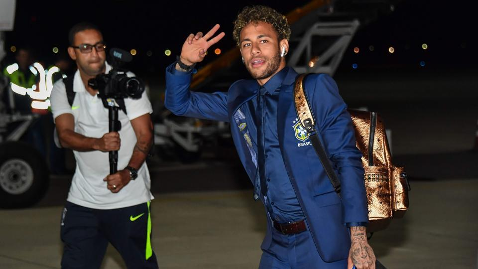 Brazil's forward Neymar gestures upon the team's landing at Sochi airport, in Russia ahead of the FIFAWorld Cup 2018 (AFP)