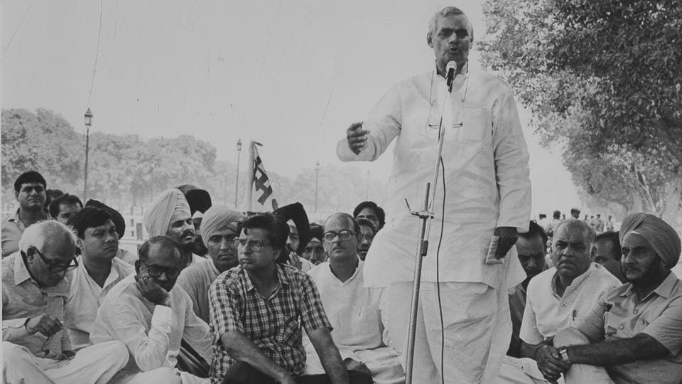 BJP Leader Atal Bihari Vajpayee addresses a rally in protest against the 59th Constitution of Amendment at Boat Club in New Delhi on 1988. The former Prime Minister was admitted to All India Institute of Medical Sciences (AIIMS) in New Delhi on Monday for a routine check-up, the BJP said in a statement. Vajpayee, 93, will be under the supervision of Dr Randeep Guleria, director of AIIMS. (PTI File)
