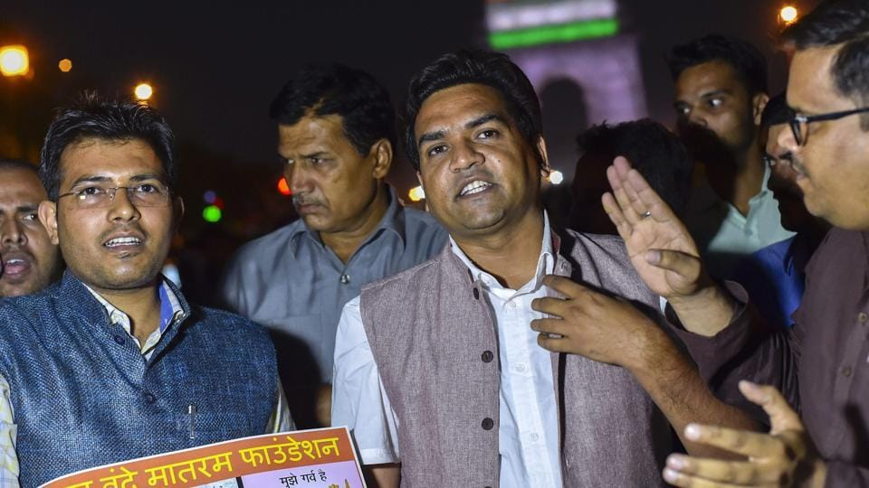 Rebel Aam Aadmi Party MLA Kapil Mishra (C) moved the Delhi high court on Monday against chief minister Arvind Kejriwal's low attendance in Delhi assembly. Mishra's plea which was urgently admitted in the high court claimed that Kejriwal who also holds the water portfolio, was present only seven times in 2017 although the assembly had 27 sessions. (PTI File)