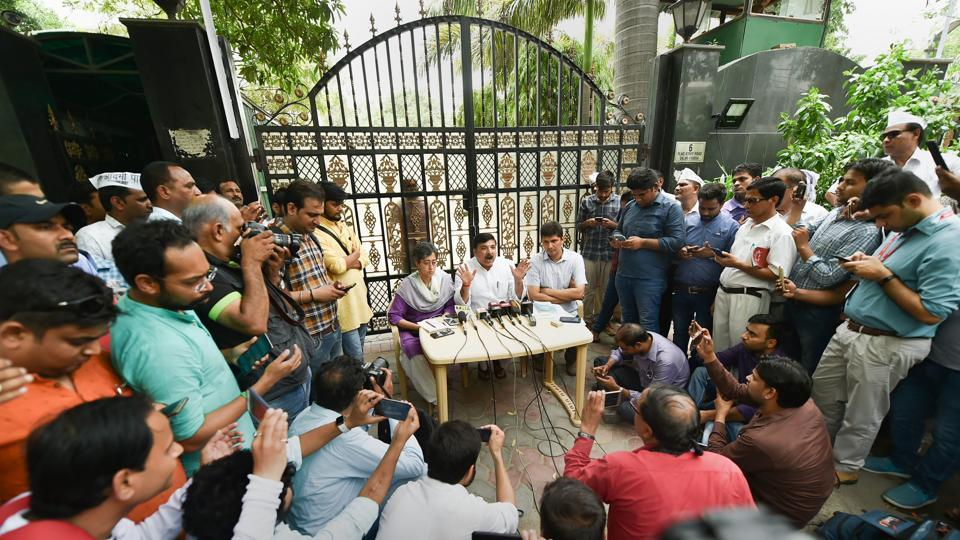 AAP leaders Sanjay Singh and Saurabh Bhardwaj address a press conference, outside Delhi CM's residence in New Delhi on Tuesday, June 12, 2018.
