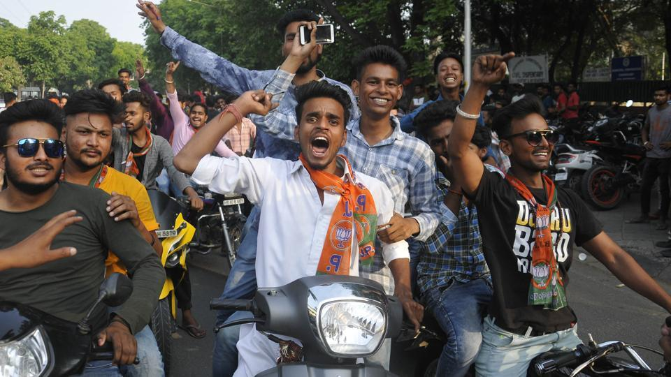 BJYM supporters rode helmetless and resorted to triple riding during a rally to celebrate four years of the Narendra Modi government in Chandigarh on Sunday.