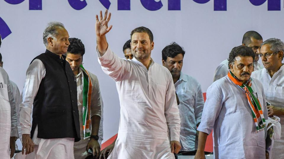 Congress president Rahul Gandhi waves as he arrives to attend a booth-level meeting with his party workers in Mumbai on Tuesday.