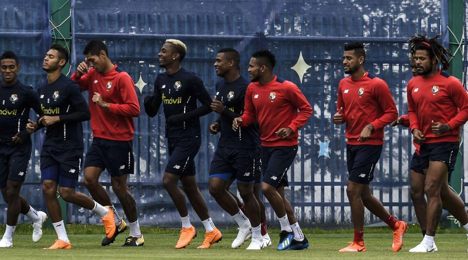 Panama players warm up before taking part in a training session in Saransk ahead of the FIFA World Cup 2018.