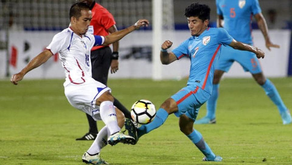 Anirudh Thapa (R) was a part of the Indian football team which lifted the Intercontinental Cup 2018 title.
