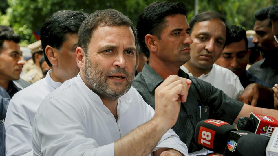 Congress president Rahul Gandhi addresses the media outside a court at Bhiwandi in Thane on Tuesday.