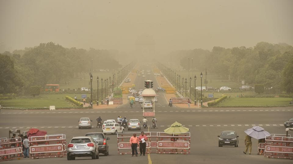A view of Vijay Chowk and Rajpath in New Delhi on Tuesday.