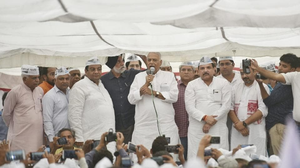 Yashwant Sinha joins AAP leaders' march to Lt Governor's ...