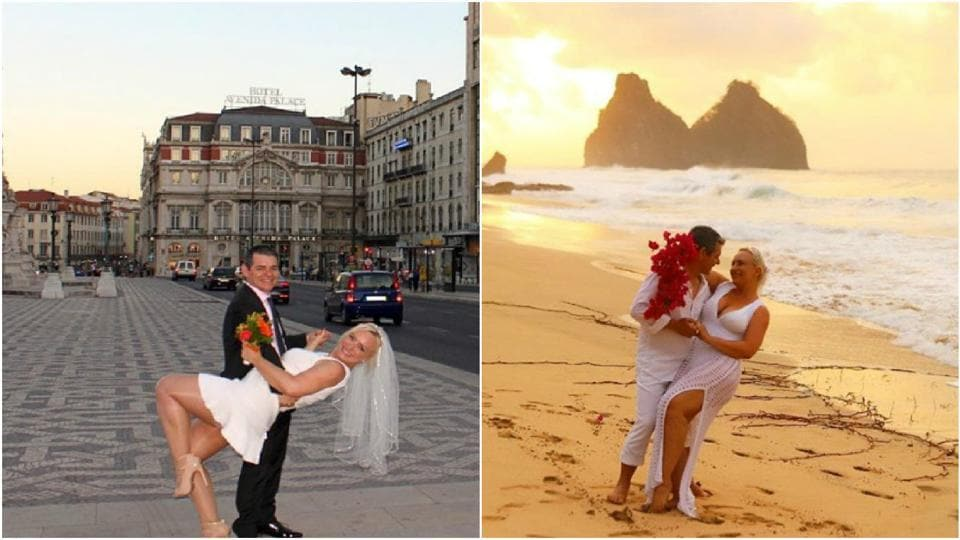 The couple posing in various parts of the globe.