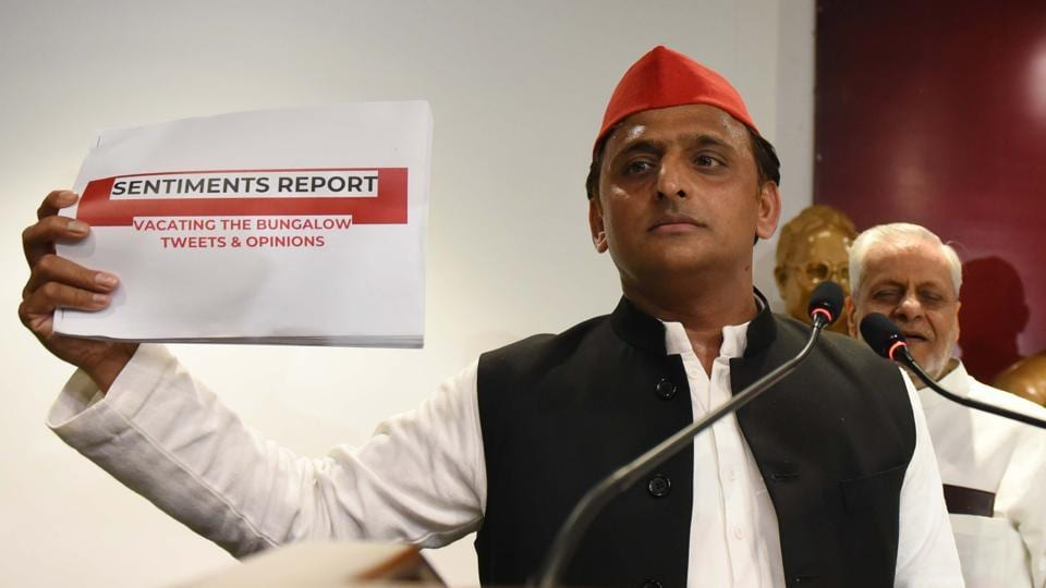 Former Uttar Pradesh chief minister and Samajwadi Party leader Akhilesh Yadav on Wednesday said there was a conspiracy behind reports that he damaged a recently-vacated government bungalow in Lucknow. Yadav said the Bharatiya Janata Party which is in power in UP is rattled after repeated defeats in recent by-elections. (Subhankar Chakraborty / HT Photo)