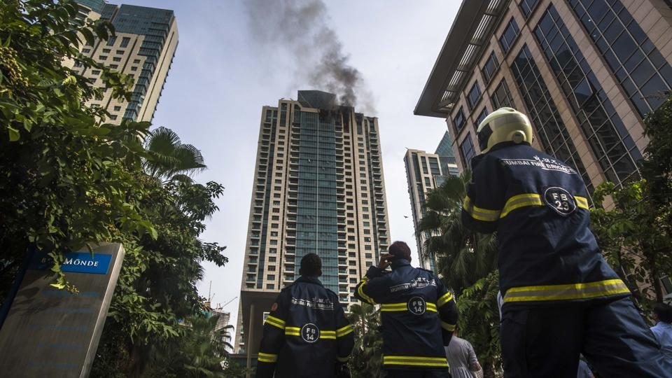 Smoke billowing out of the 33rd floor of Beaumonde Towers in Prabhadevi in south Mumbai.