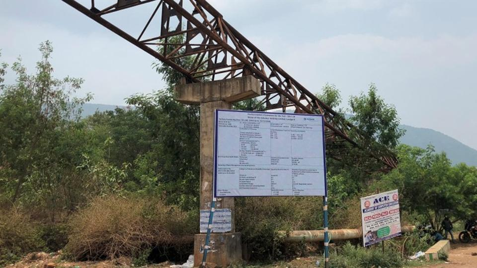 An abandoned conveyor belt of Vedanta Limited is seen near the Niyamgiri hill in Lanjigarh in the eastern state of Odisha on June 5.