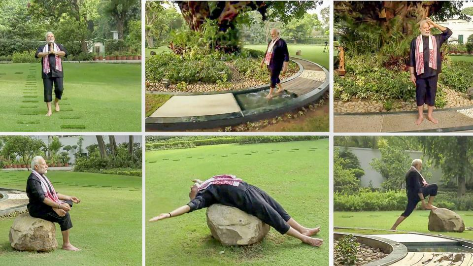 A combo picture of still images taken from video shows Prime Minister Narendra Modi doing yoga exercises. Modi on Wednesday posted a video showing him stretching and doing several yoga poses, less than a month after he accepted cricketer Virat Kohli's fitness challenge. (PTI)