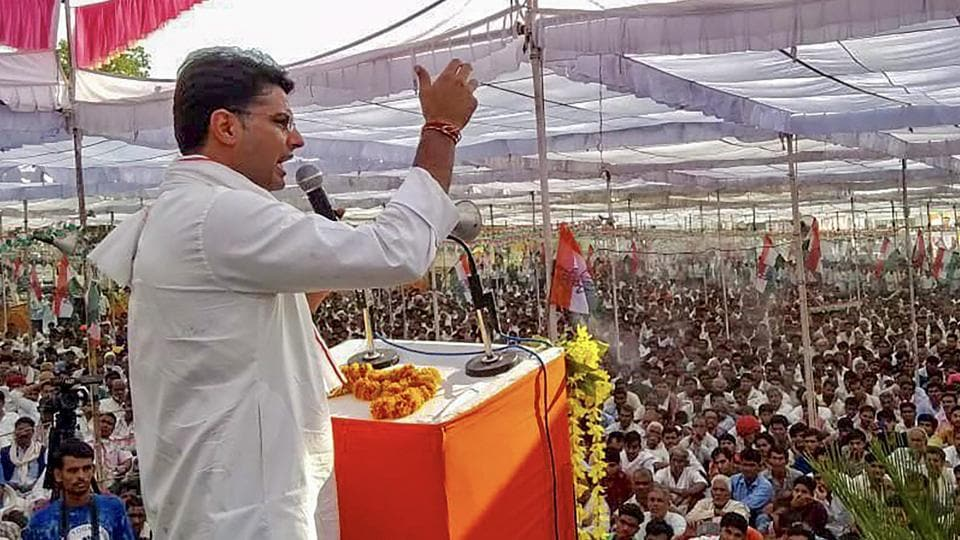 Rajasthan Congress chief Sachin Pilot addresses the 'Mera Booth, Mera Gaurav' event in Jhalawar.
