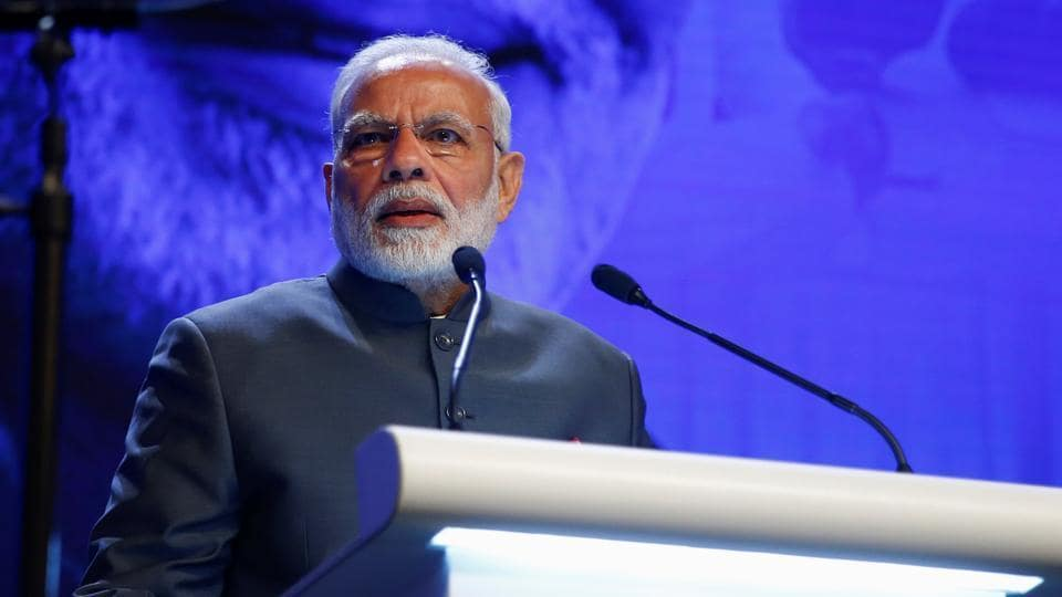Prime Minister Narendra Modi delivers the keynote address at the Shangri-la Dialogue in Singapore June 1, 2018.