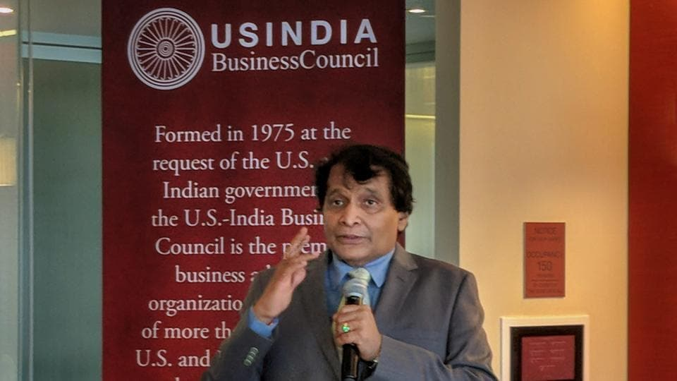 Commerce and industry minister Suresh Prabhu speaks at a reception hosted by US-India Business Council, in Washington DC on Tuesday, June 12, 2018.