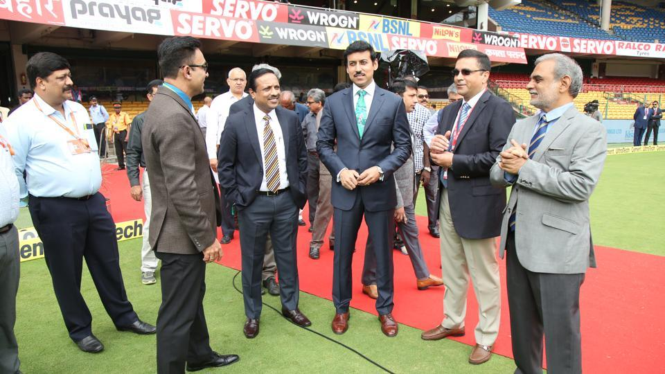 Rajyavardhan Singh Rathore interacts with BCCI CEO Rahul Johri. (BCCI)