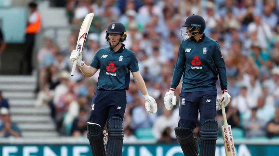 England were boosted by a fifty from Eoin Morgan and David Willey's magnificent cameo in the end as they won the Oval ODI by three wickets.