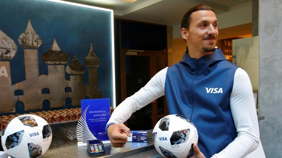 Former Swedish striker Zlatan Ibrahimovic attends a meeting with media representatives on the upcoming 2018 FIFA World Cup in Moscow, Russia on Thursday.