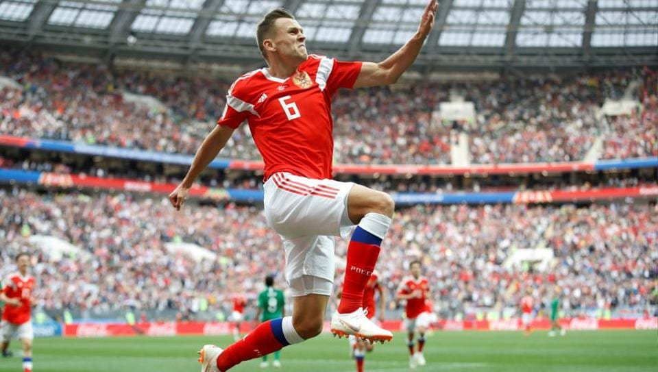 Russia's Denis Cheryshev celebrates scoring their second goal against Saudi Arabia in a FIFA World Cup 2018 match.