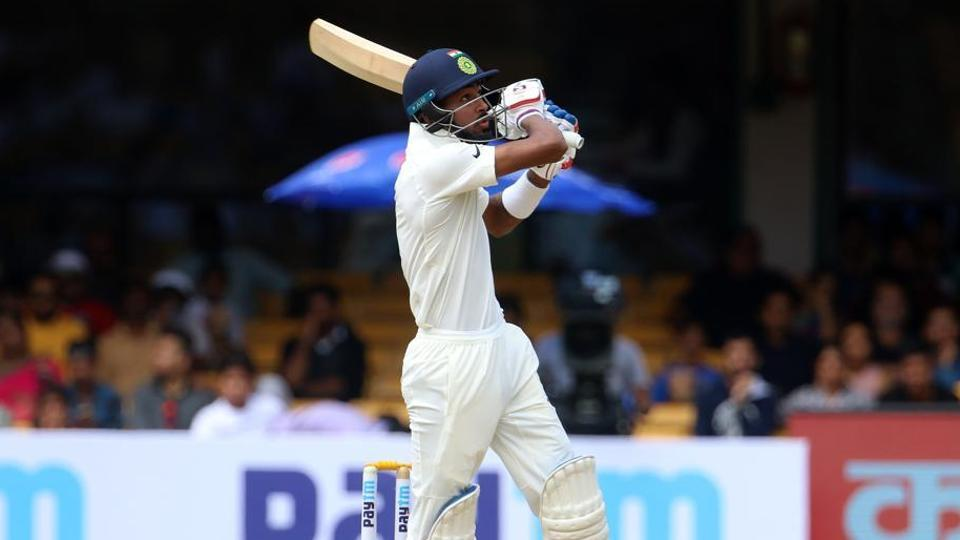 Hardik Pandya in action during day two of the Test match between India and Afghanistan at the M. Chinnaswamy Stadium in Bangalore.
