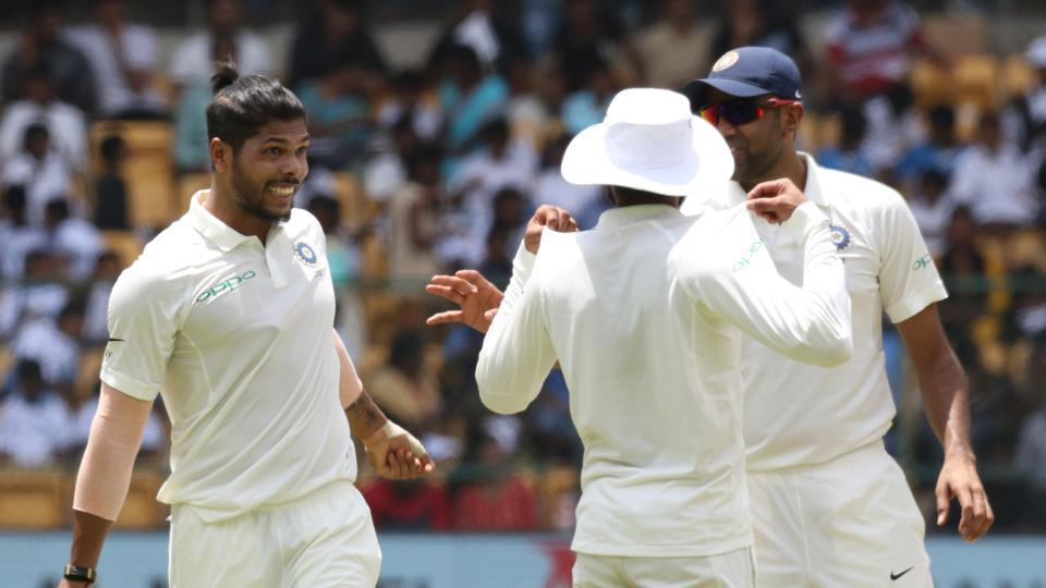 Umesh Yadav removed Rahmat Shah to complete 100 Test wickets.  (BCCI )