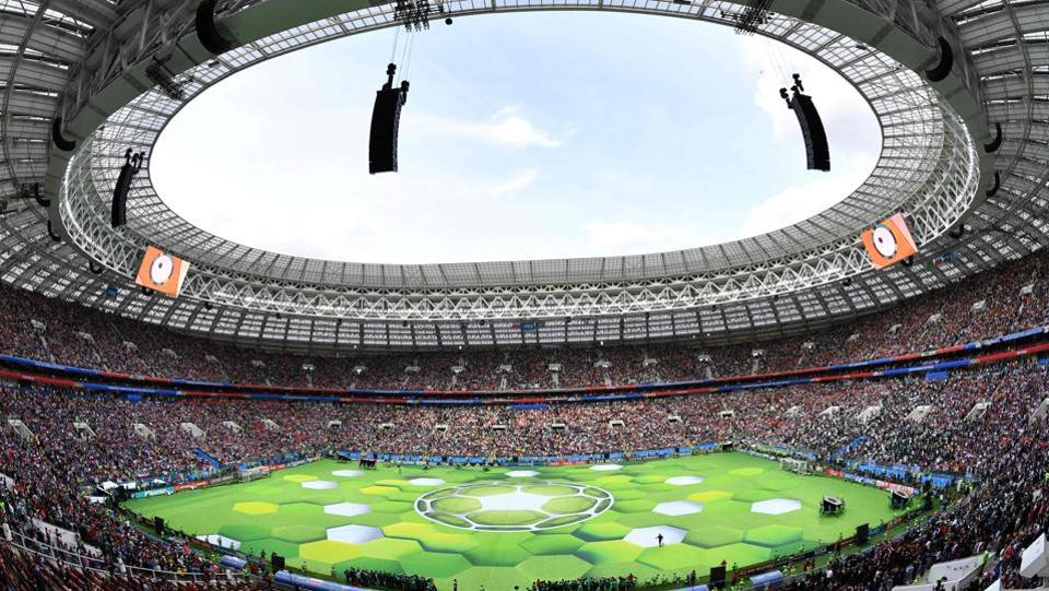 The stage looks set in this wide angle view of the stadium during the opening ceremony. A solid 80,000 fans from around the world were estimated to have turned up for the first showdown. (Mladen Antonov / AFP)
