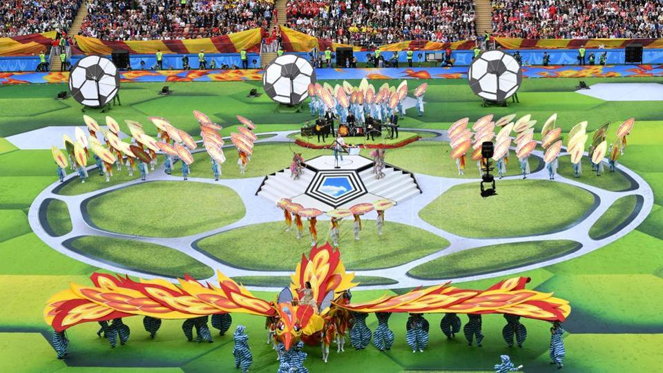 Artists perform during the opening ceremony. The opening ceremony, just half an hour before play began focussed heavily on pyrotechnics, gymnastics and impressive musical acts including a performance of Pyotr Tchaikovsky. (Mladen Antonov / AFP)
