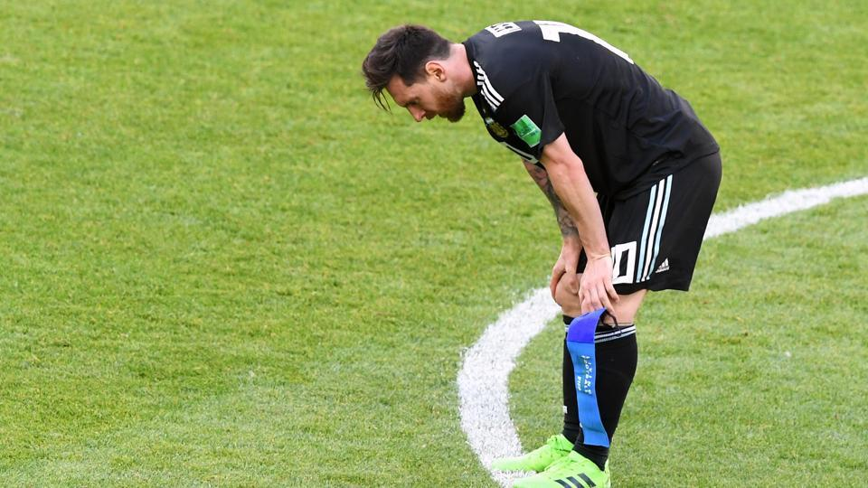 Argentina's Lionel Messi after the FIFA World Cup 2018 Group D match between Argentina and Iceland at the Spartak Stadium in Moscow on June 16, 2018.  (Utpaal Sorkkar/HT Photo)
