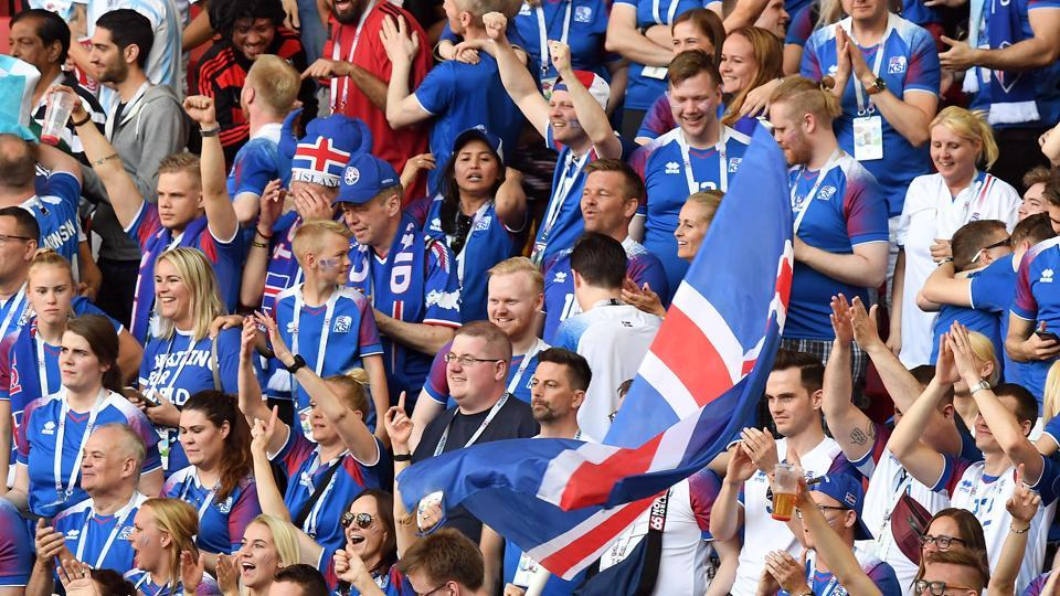 Iceland fans were in fine voice throughout the game.  (Utpaal Sorkkar/HT Photo)