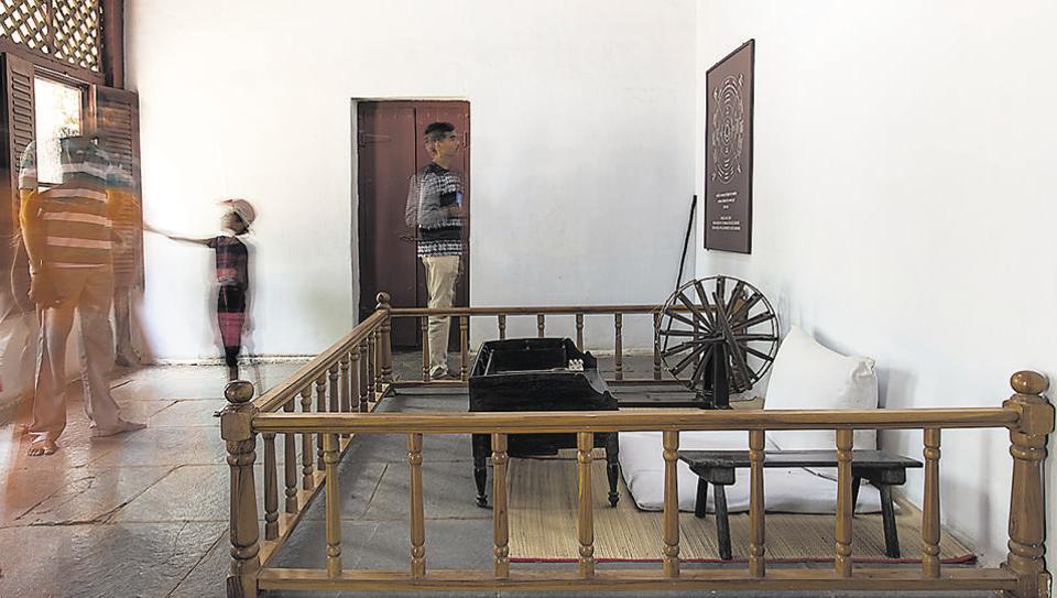Gandhi's room at Hridaykunj, his living quarters at Sabarmati Ashram. In addition to his room, Hridaykunj also comprises  Kasturba Gandhi's room, a guest room, kitchen, store room and verandah.