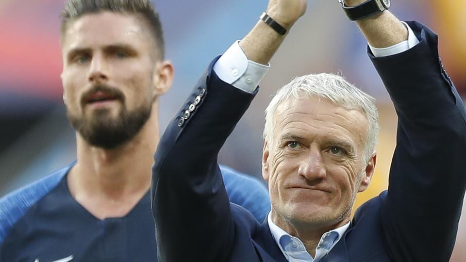 France head coach Didier Deschamps applauds his sides fans in the stadium after the end of the group C match between France and Australia at the 2018 soccer World Cup. (AP)