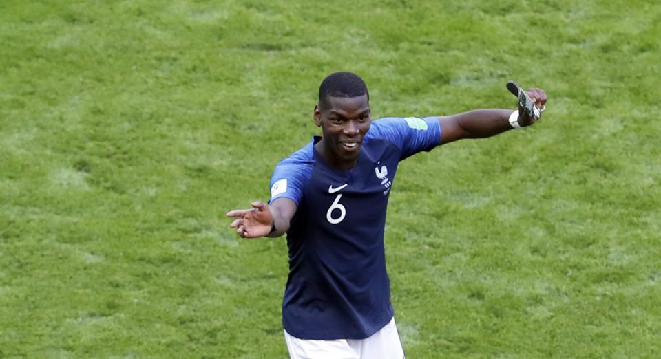France's Paul Pogba celebrates at the end of the group C match between France and Australia at the 2018 soccer World Cup in the Kazan Arena in Kazan, Russia. (AP)