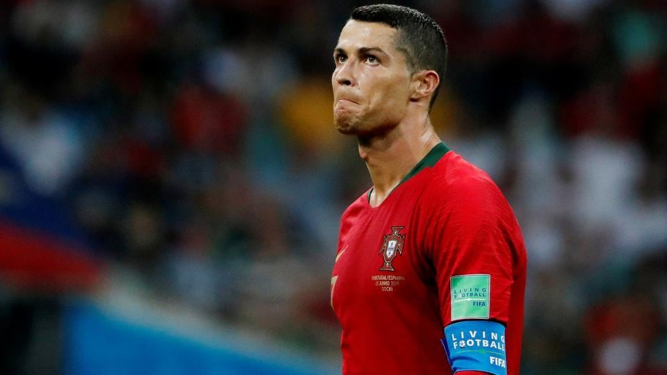 Ronaldo was frustrated with himself in the second half despite scoring two goals.  (REUTERS)