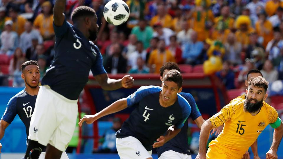 France's Samuel Umtiti handles the ball in the area resulting in a penalty being awarded to Australia. (REUTERS)