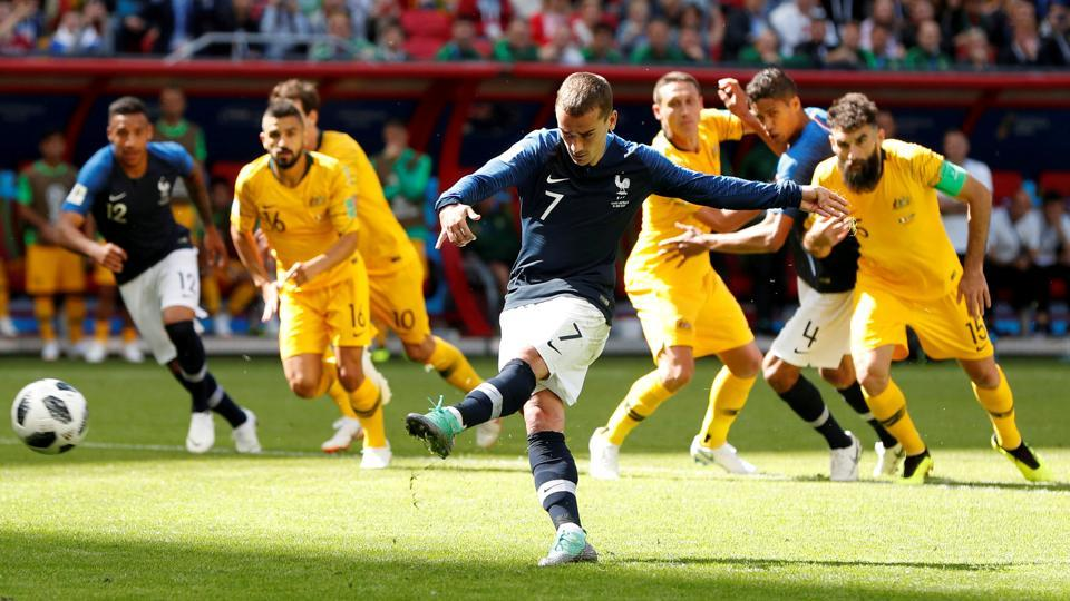 France's Antoine Griezmann scores their first goal from a penalty. (REUTERS)