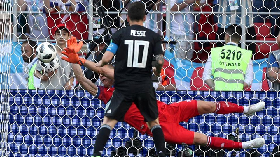 Hannes Por Halldorsson saves a penalty taken by Argentina's Lionel Messi during their FIFA World Cup 2018 encounter.