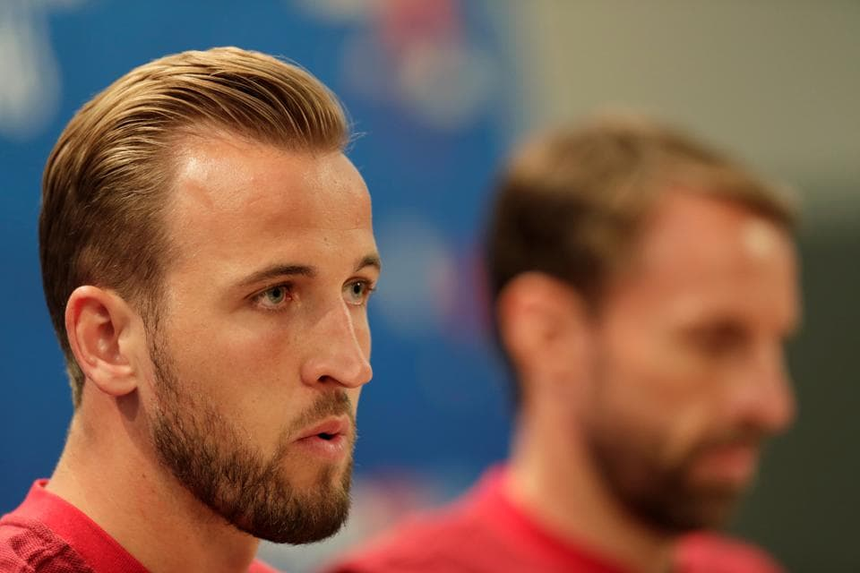 England's Harry Kane and manager Gareth Southgate during the press conference before their opening match at FIFA World Cup 2018.