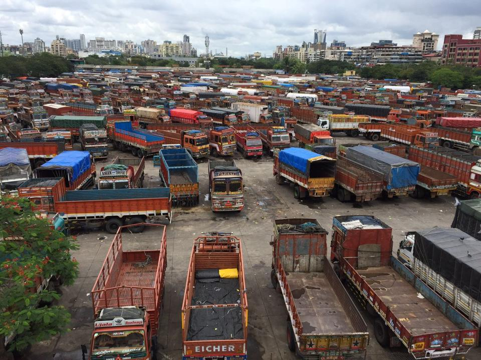 Trucks parked at the APMC truck terminal in Vashi on Monday, owing to the indefinite strike.