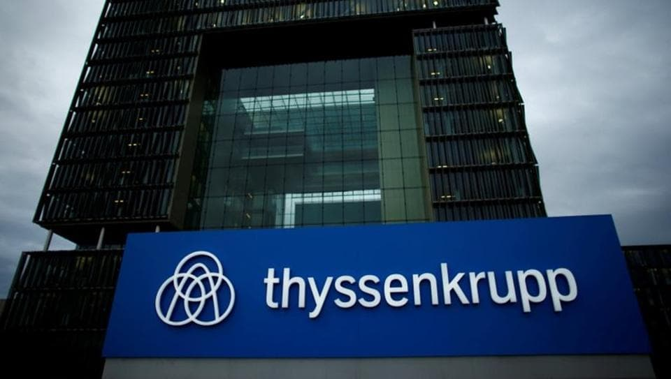 A logo of ThyssenKrupp AG is pictured outside the ThyssenKrupp headquarters in Essen.