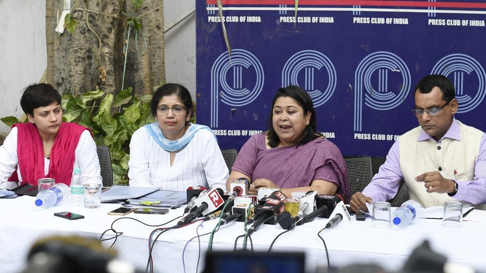Officials during IAS Association of the AGMUT cadre press conference at Press Club of India, in New Delhi, on June 17, 2018.