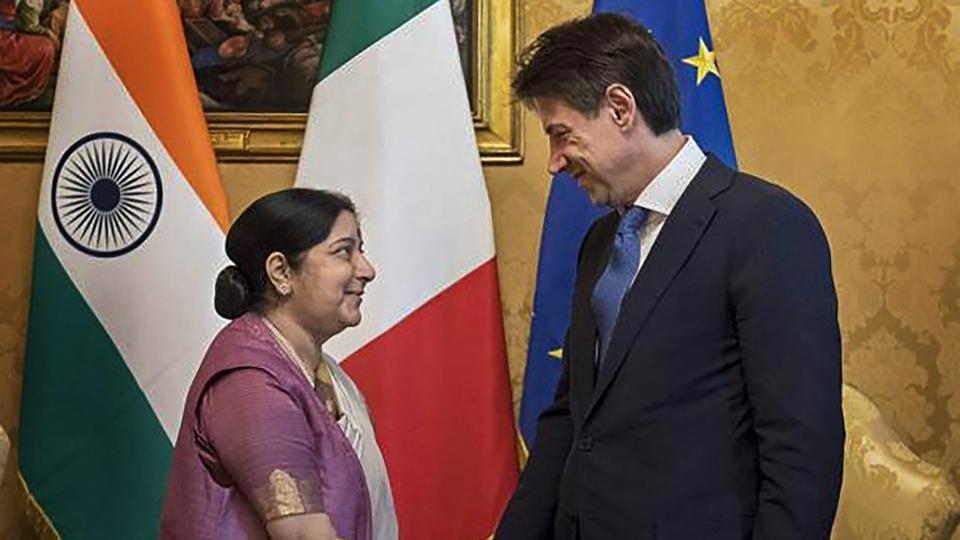 Sushma Swaraj,Sushma Swaraj tour,Enzo Moavero Milanesi