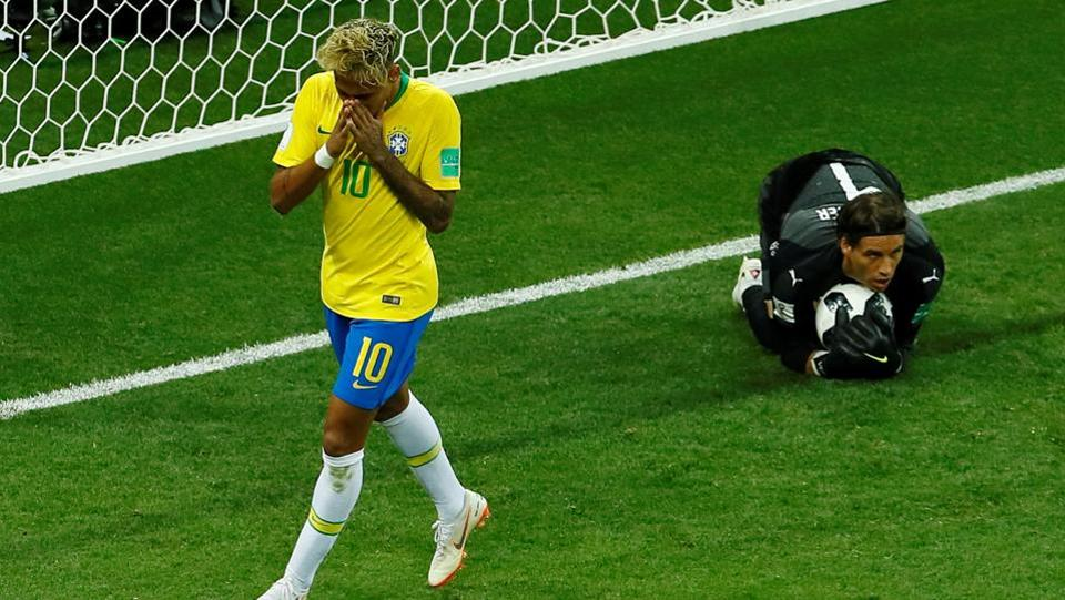 Brazil's Neymar looks dejected after failing to score. (REUTERS)