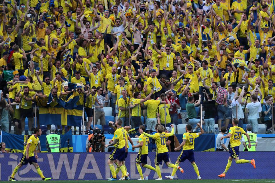 Sweden fans rejoice after their team scored against South Korea. (REUTERS)