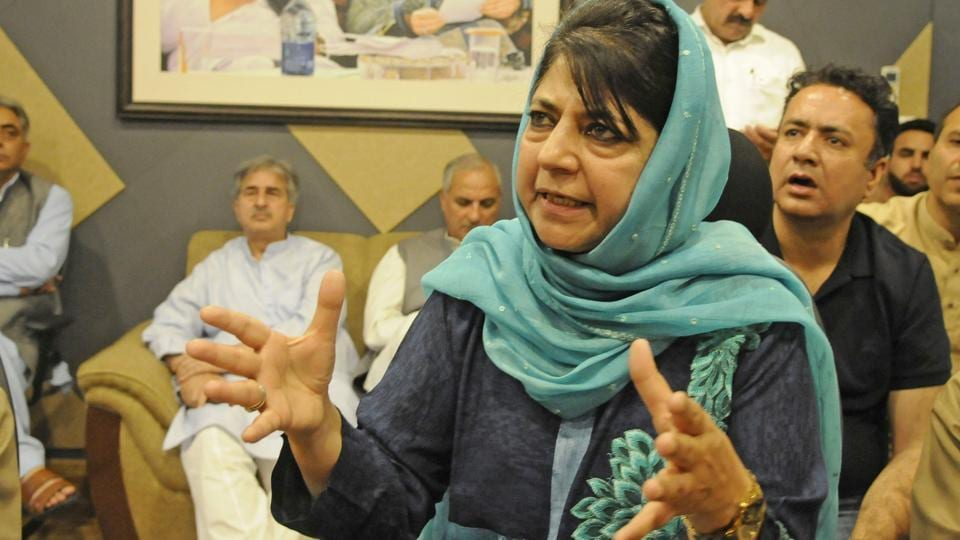 Mehbooba Mufti, who resigned as the chief minister of Jammu and Kashmir, addresses a press conference in Srinagar.